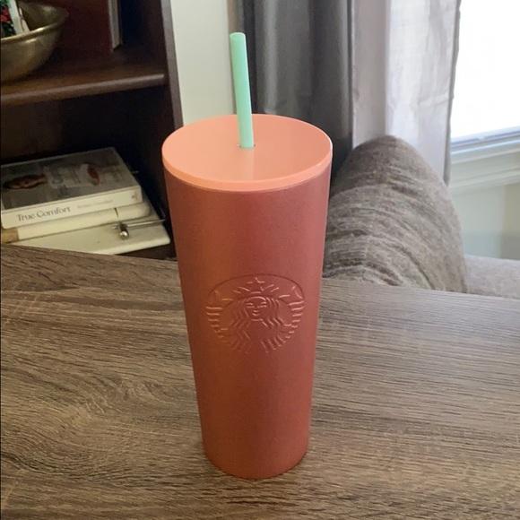 USED Starbucks Glitter Rose Gold 24oz Tumbler